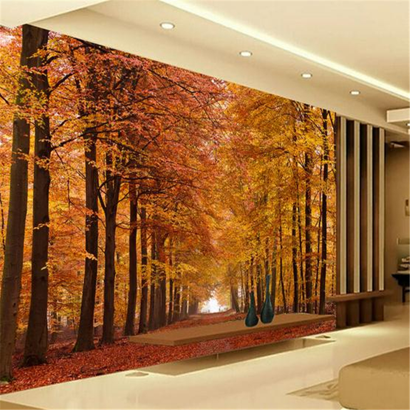 3d Stereoscopic Custom Photo Wallpaper Large Living Room Bedroom Tv Background Wall Mural Autumn Forest Wallpaper Home Decor Wallpapers Aliexpress