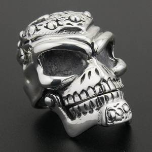 Image 3 - Solid 925 Sterling Silver Skull Mens Biker Pendant 8C011 With Matching Stainless Steel Necklace