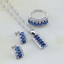 925 Sterling Silver Jewelry Blue Cubic Zirconia White Crystal Jewelry Sets For Women Wedding Stud Earring/Pendant/Necklace/Ring