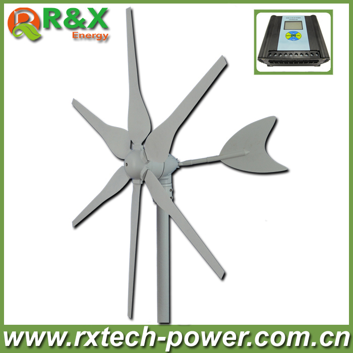 цена Brand new 300W wind generator for marine&land, 6 PCS blades wind turbine generator+wind/solar hybrid controller(LCD display)