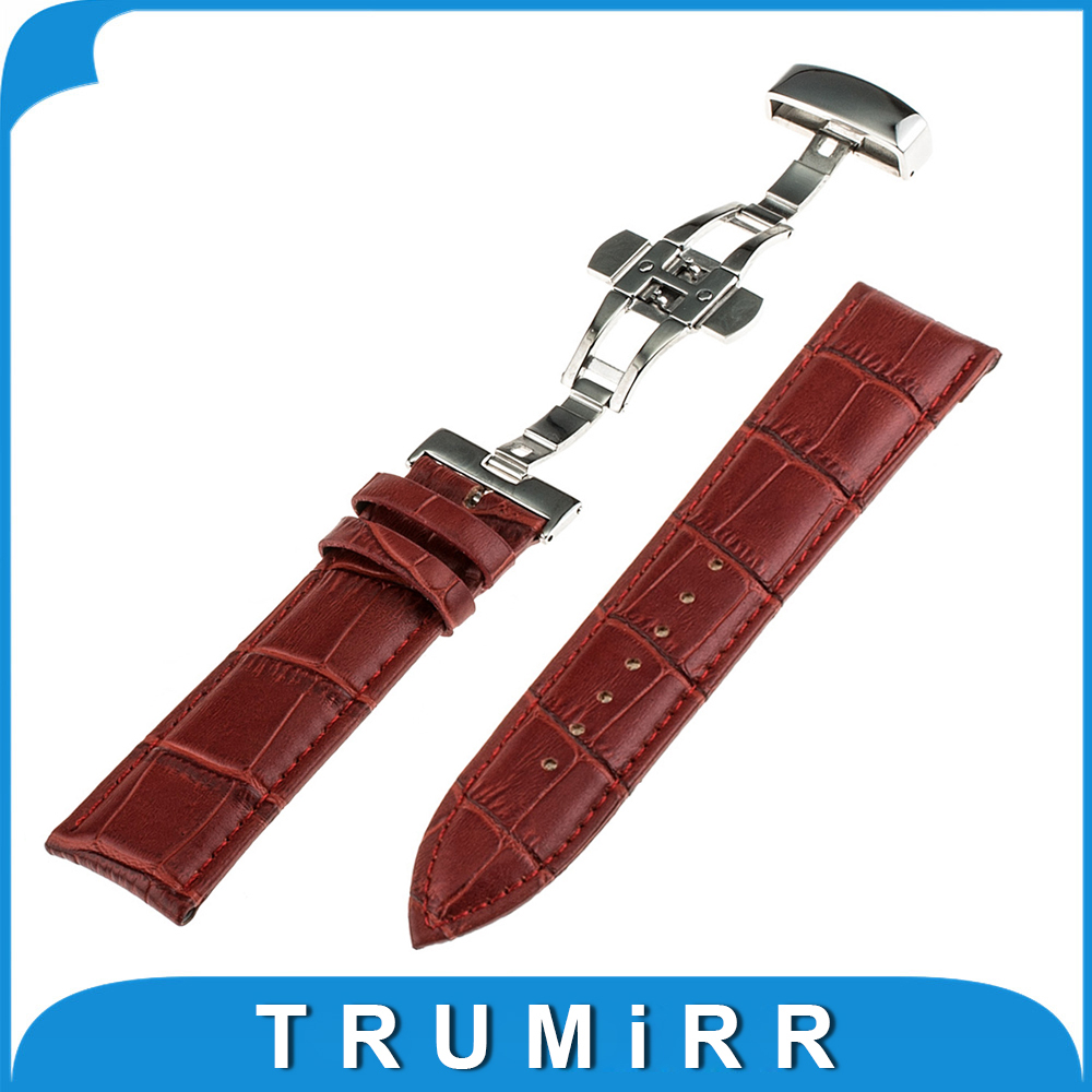 Genuine Leather Watch Band Butterfly Buckle Strap for