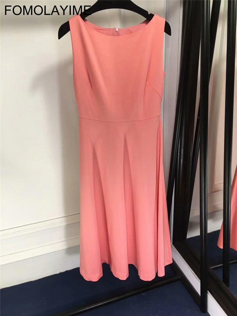 FOMOLAYIME европейское платье 2018 Для женщин высокой моды взлетно посадочной полосы однотонные топы на бретельках платье
