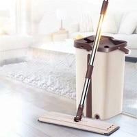 Magie Reinigung Mops Kostenloser Hand Mopp mit Eimer Etagen Squeeze Flache Mopp Home Küche Boden Reiniger Werkzeuge Mopas Para Limpias pisos|Mopp|   -