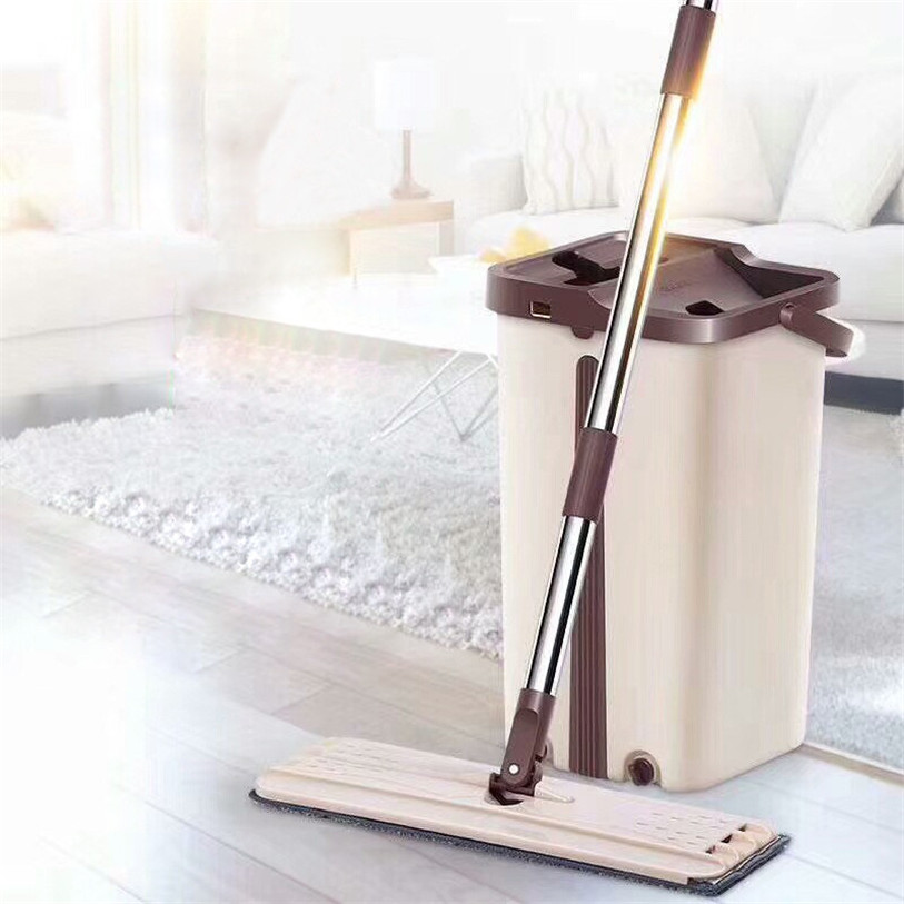 Nettoyage magique vadrouilles main libre vadrouille avec seau sols presser vadrouille plate maison cuisine plancher nettoyant outils Mopas Para Limpias Pisos