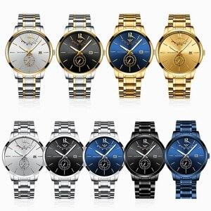 Image 2 - NIBOSI montre de Sport, étanche, pour hommes, Quartz, couleur bleu, doré, marque de luxe, pour lentreprise