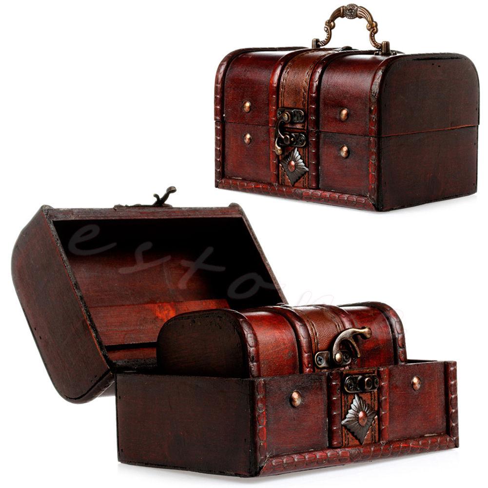 2Pcs Set Wooden Pirate Jewellery Storage Box Case Holder Vintage Treasure Chest