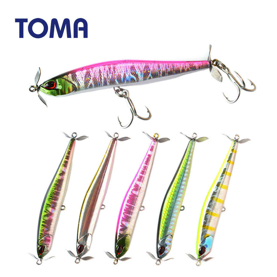 TOMA 90S Minnow Pencil Hard Fishing Lure Sinking 90mm 15g Topwater Wobblers Props Propeller Artificial Bait Bass Fishing Tackle