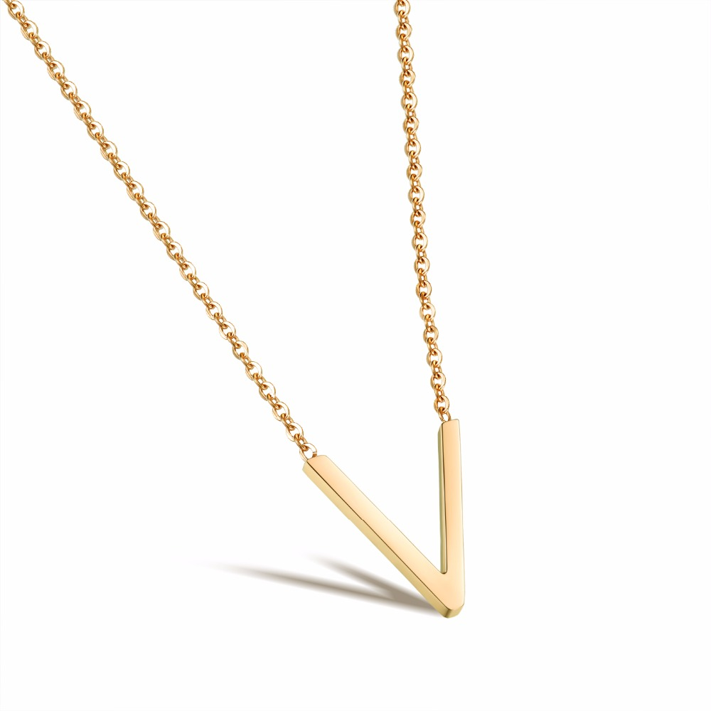 Valentines Day Present Custom Design Alpha Letter V-Shaped Short Clavicle Pendant Necklace 1033N