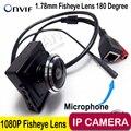 180 Graus Full HD 1080 P mini Câmera IP monitor de áudio ip mini câmera P2P Plug Jogue Ampla Ângulo da câmera para 1.78mm Fisheye lente