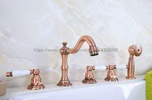 цена на Bathtub Faucet Widespread 3 Cross Handles Roman Tub Faucet 5 Holes Deck Mount Bath Tap with Handshower Btf226
