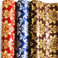 Gold Foil Wallpaper Classic Wall Papers Home Decor Golden Red Luxury Damask Wallpaper Wallcovering Floral Papel