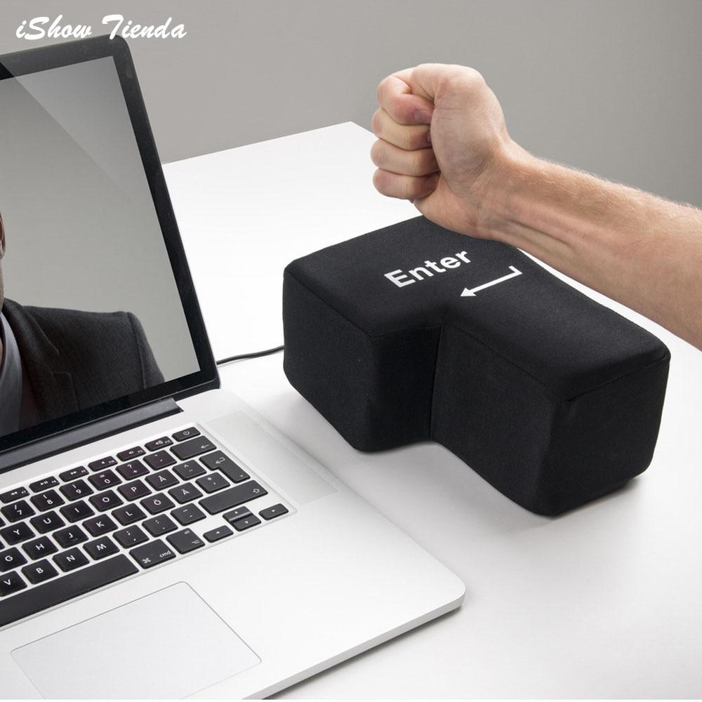 New Enter Key USB Pillow Anti-stress Relief Super Size Unbreakable Nap Travel 50P030