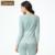 Qianxiu mulheres marca Pijama definir moda primavera algodão manga comprida Floral impressão Pijama Pijama feminino Ladies salão Sleepwear 1604