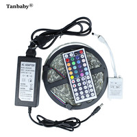 Tanbaby 5M/Roll SMD 5050 LED Strip Light RGB+44 Key Controller+24V 2A 300LEDs DC24V IP65 Waterproof Flexible Ribbon Tape Outdoor
