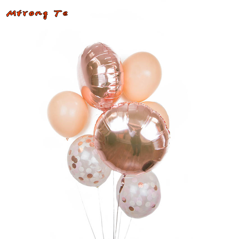 7pcs 12 Inch rose gold Confetti latex Balloons party decrations bachelorette bridal shower Wedding & Engagement Party Balloon