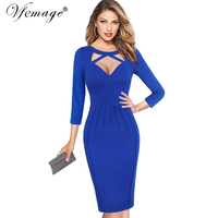 Vfemage Women Autumn 3 4 Sleeve Elegant Sexy Cut Out Deep V Neck Slim Casual Party