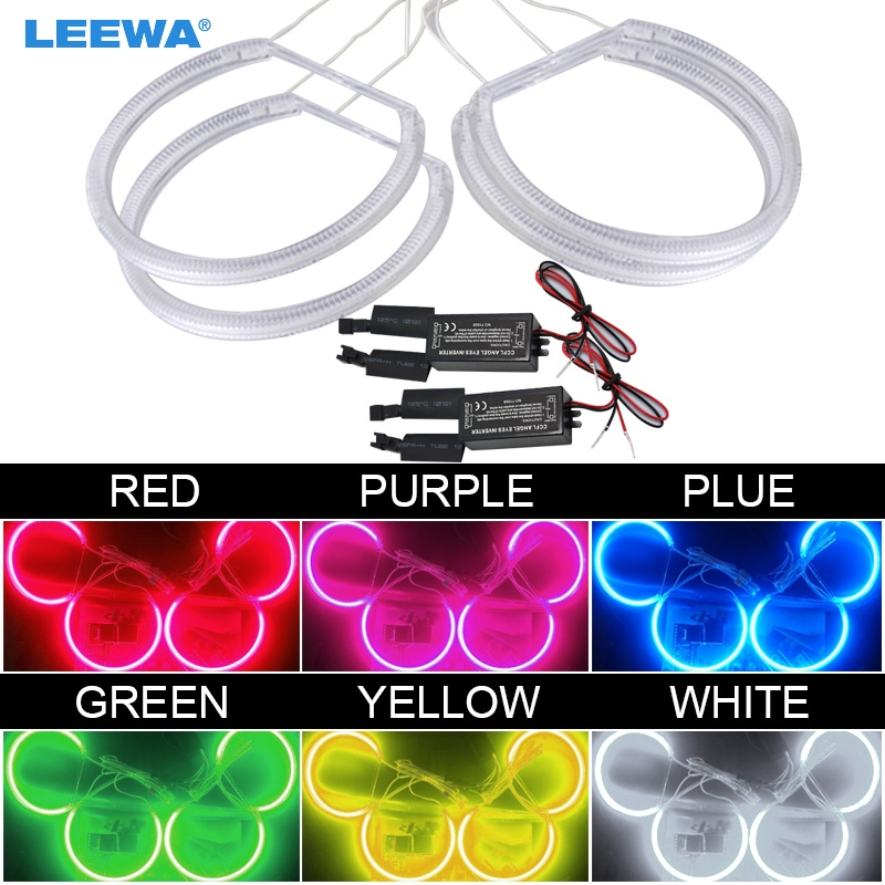 LEEWA 4X131MM Car Headlight CCFL Angel Eyes Light Halo Rings Kits For Lada VAZ <font><b>2106</b></font> Car-Styling White DRL #CA1272 image