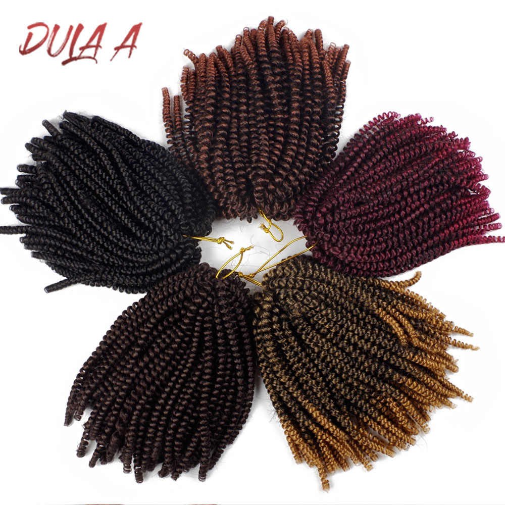 Dula A 8 inch Afro Fluffy Spring Twist Hair Extension Synthetic Short Crochet Braids Curly Hair Jamacain Bounce Crochet Hair