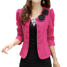 2017 double breasted floral blazer women suits elegant suit jacket casual blaser  m-3xl cape blazer mujer black/pink