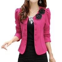 2016 Double Breasted Floral Blazer Women Suits Elegant Suit Jacket Casual Blaser Plus Size M 3XL