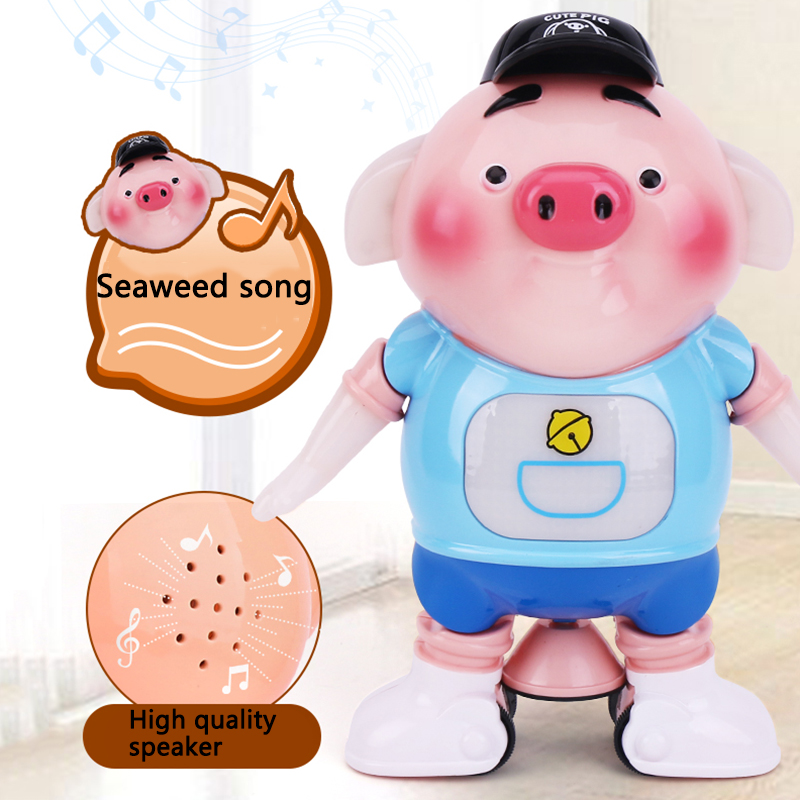 kids Toy Dancing Meng Meng Piglet Electronic Toys with Light Singing Walking Pig Interactive Baby Electronic Pets Puzzle Toys