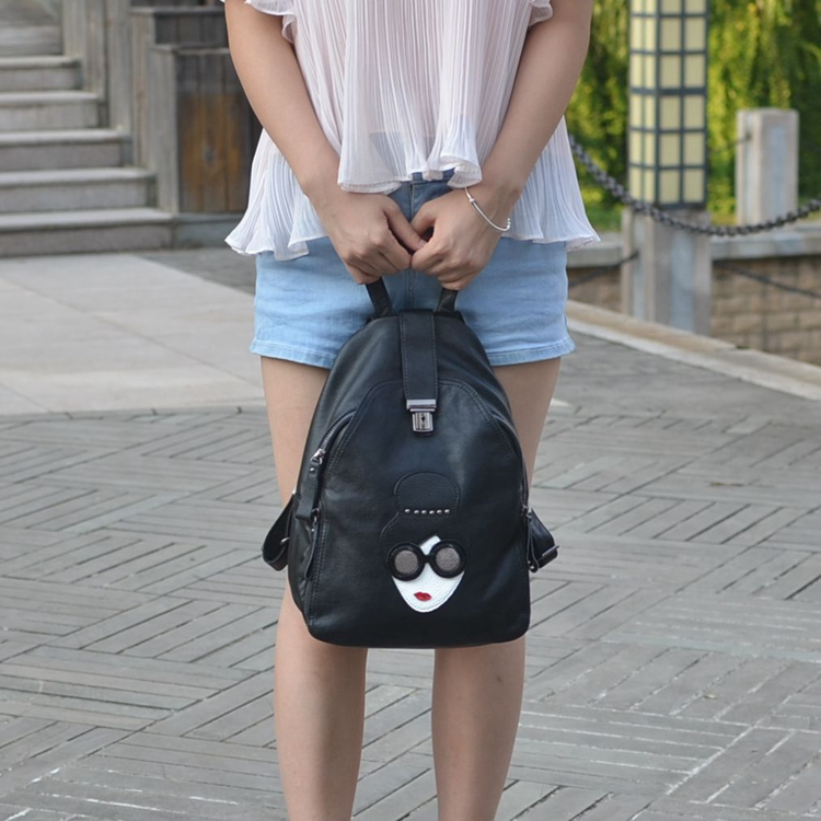 WANU vintage casual new style back pack Cow leather school bags high quality hotsale women  clutch famous brand girl backpack cool walker vintage casual new style women leather backpack school bags high quality women famous brand backpack rivet zipper
