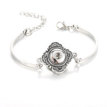 Snap Button Bangles & Bracelet Silver Color Jewelry 12mm Snaps Button Chain Bracelet charm bracelet Snap Jewelry women(China)
