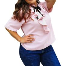 Large Size Women Spring Summer Lotus Leaf Collar Bow Elegant Blouse Solid Color Pink Sweet Bow Neck Shirts Office Lady Loose 4xl все цены