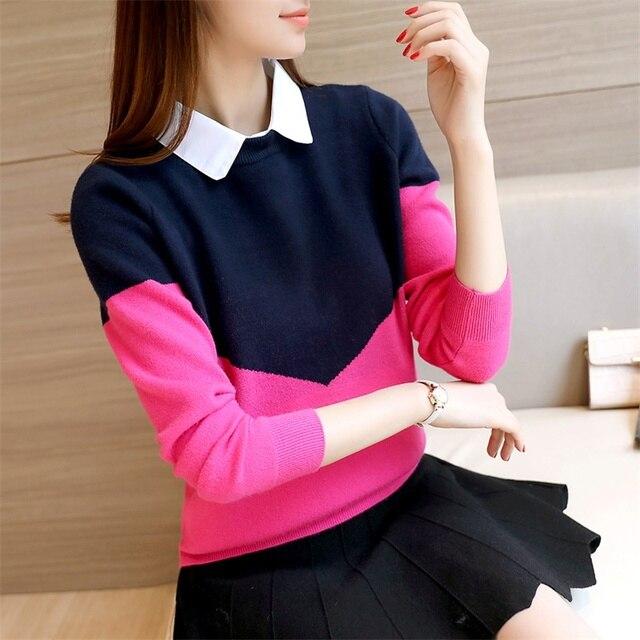 OHCLOTHING 2019 mới của Hàn Quốc phụ nữ của dệt kim áo sơ mi màu sắc cổ áo sơ mi áo len F1517