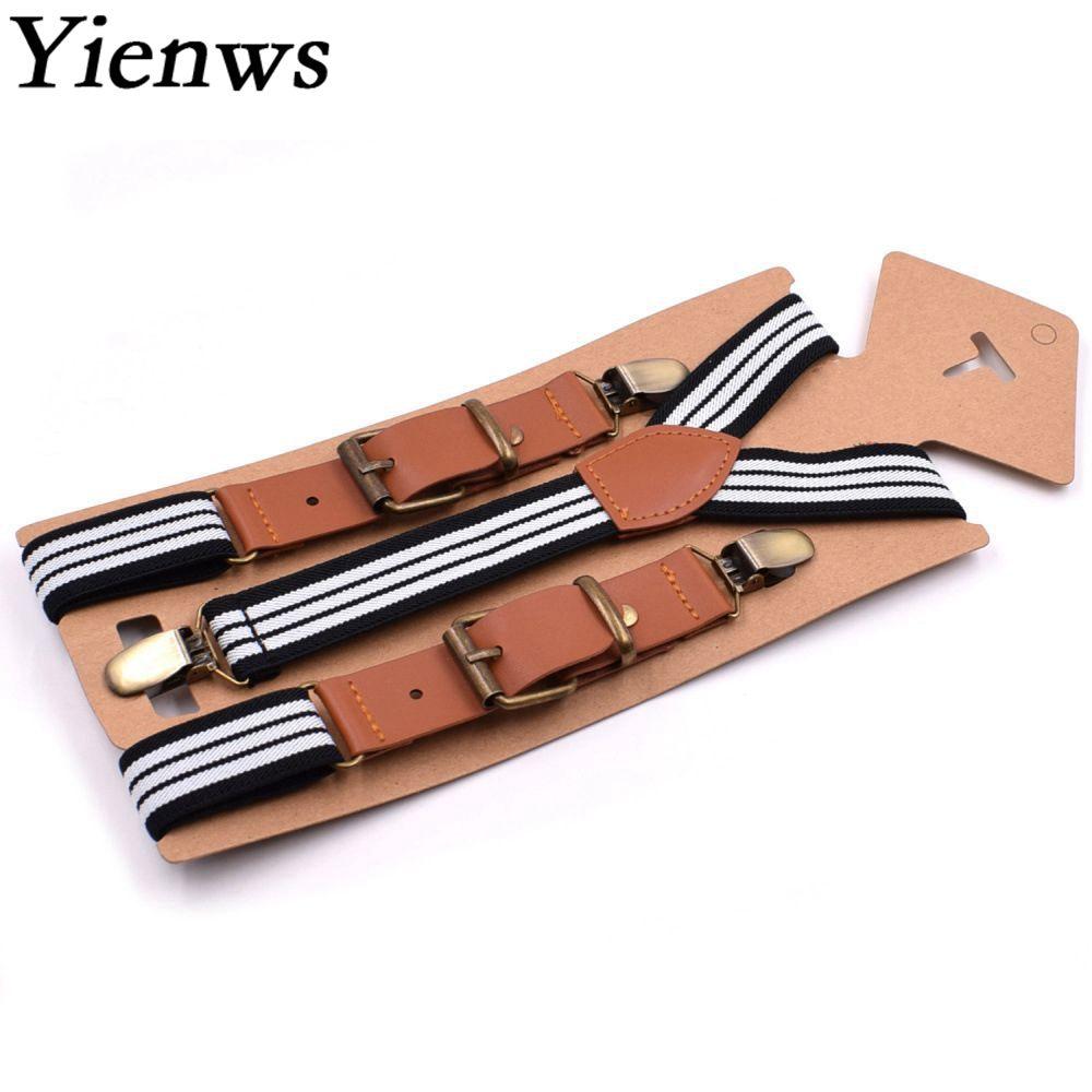 Yienws 75cm Vintage Suspenders For Boys Leather Striped Trousers Brace Strap Children Beige White Black Bretele YiA042