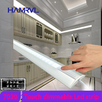 HAMRVL Touch Switch Control 5pcs 0 5m 7020 Rigid Strip Dimmable Under Cabinet Strip Lighting Kitchen