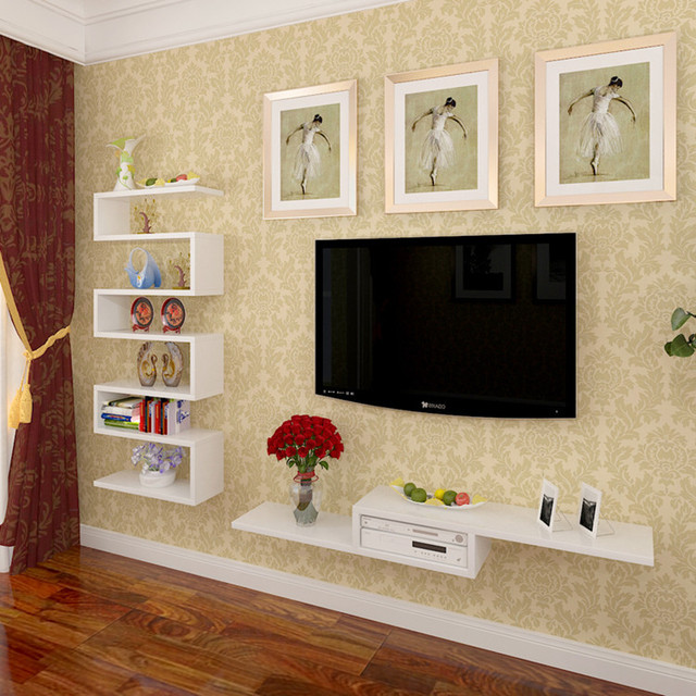 Fashion Clapboard Wall Shelf Tv Decoration Set Top Box Frame