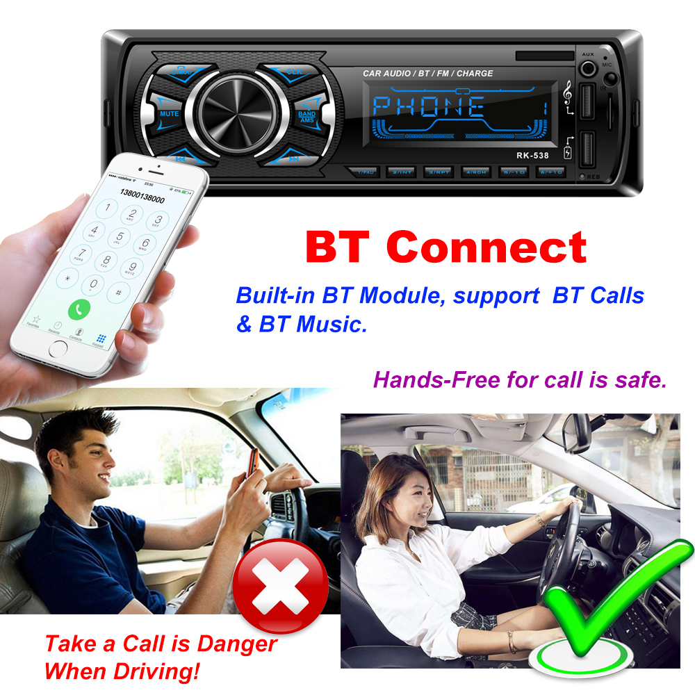 Image 2 - Hikity 1 din Car radio 12V Bluetooth AUX autoradio fm transmitter auto radio In Dash 1din with free remote control car Stereo-in Car Radios from Automobiles & Motorcycles