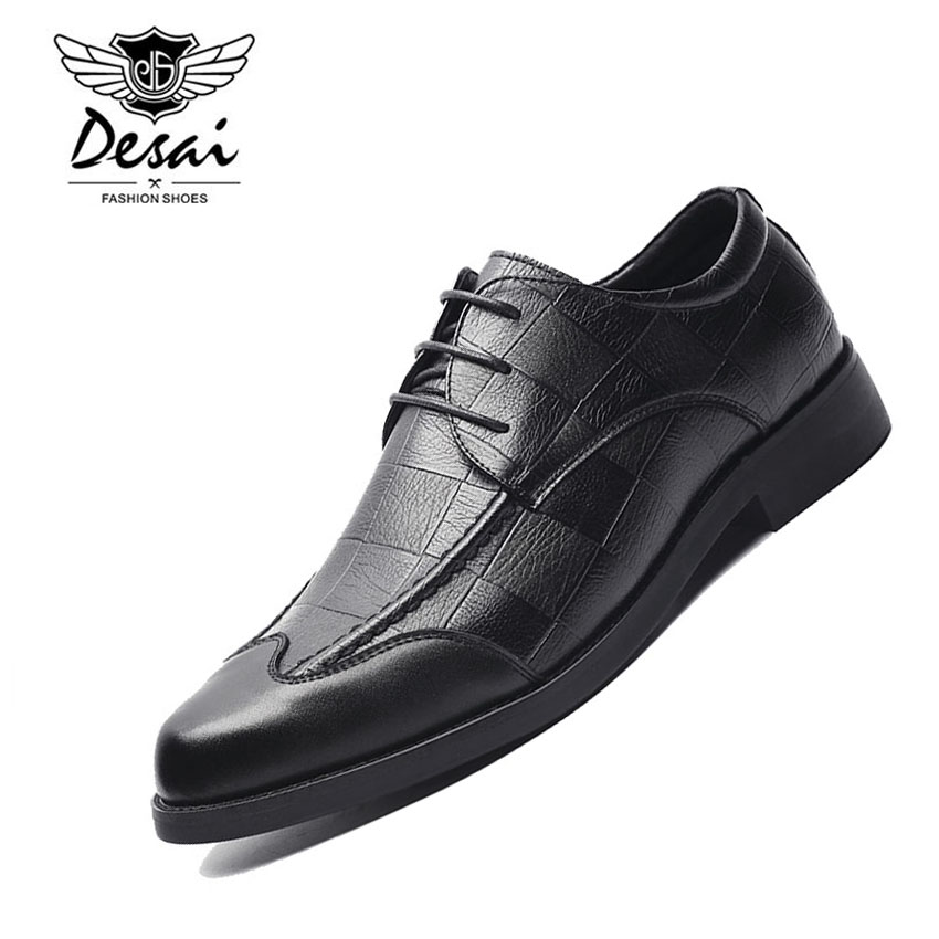 2019 Autumn New Fashion Pointed Toe Casual Leather Shoes Business Dress Lace Up Men Shoes Flats
