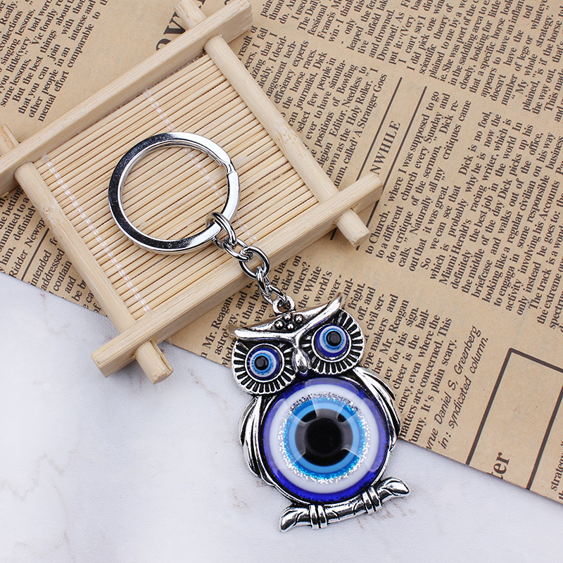 Blue Evil Eye Sowa Lucky Charm Protection Tassel Hanger Crystals Car Feng Shui Keychain