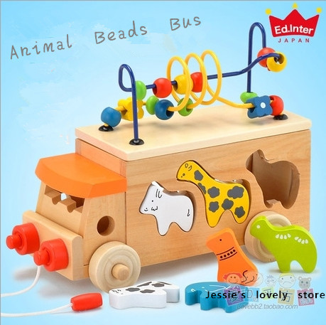 Free Shipping!Baby Wood Toys Animal Beads Bus Baby Educational Animal Blocks Around The Beads Toy Building Blocks Gift duck around beads toy baby wooden toys duckling trailer mini around beads educational game toys for kids children gift