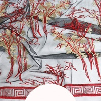 Classical Chinese style forest net bottom embroidery fabric costumes stage cheongsam Hanfu embroidered cloth