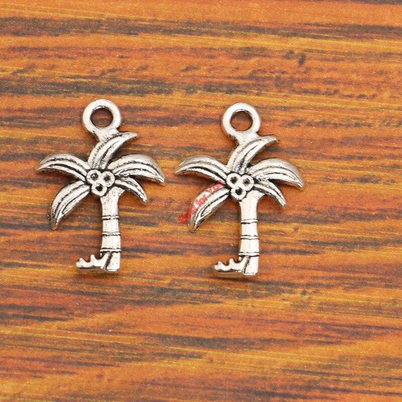 KJjewels Store 10pcs Tree Charm Pendant fit Bracelet Necklace Tibetan Silver Plated Jewelry DIY Making Accessories 22x16mm