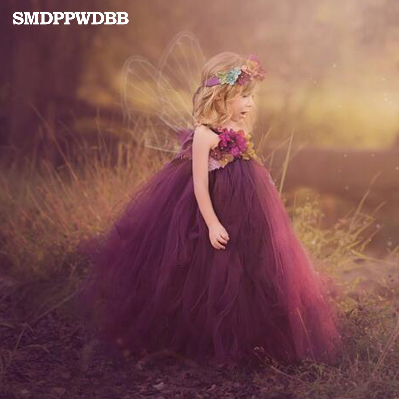 SMDPPWDBB filles robes robe de bal princesse fête de mariage fleur robe filles d'été fête vêtements enfants photographie accessoires robe