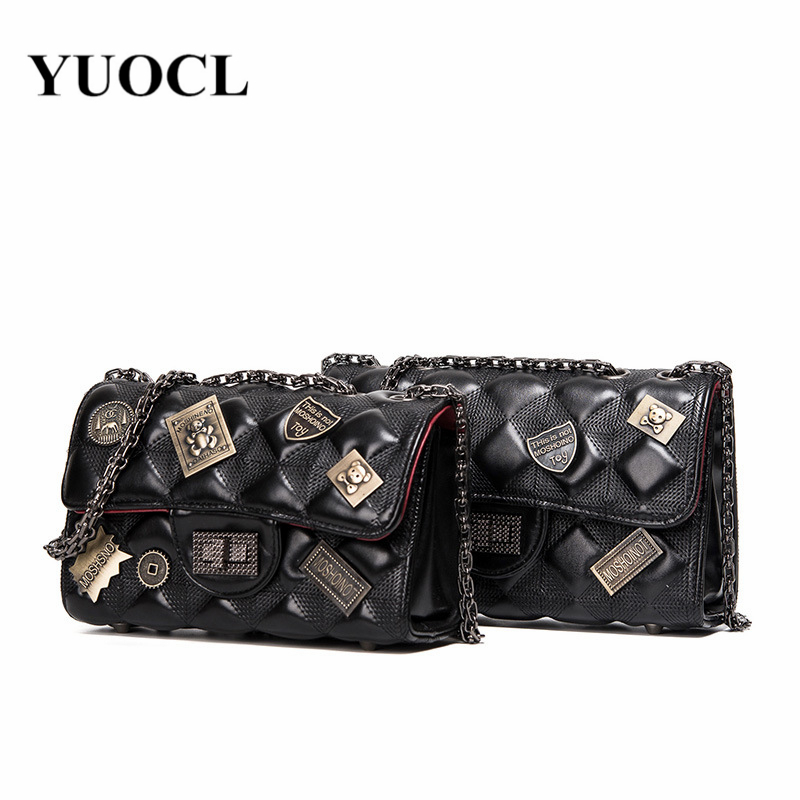 2018 Crossbody Bags For Women Leather Handbags Luxury Handbags Women Bags Designer Badge Lattice Chain Shoulder Bag Sac A Main