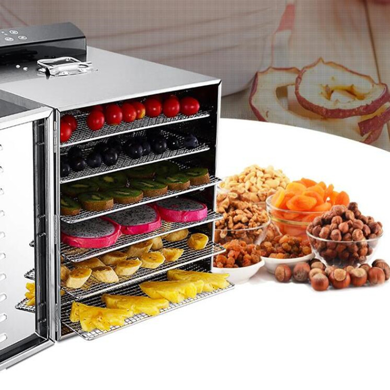 6 trays Temperature time control Stainless Steel fruit dehydrator machine dryer for fruits vegetables food processor drying meat 5 trays 245w food fruit dehydrator drying fruit machine home food dryer dehydrator with timing function and temperature control