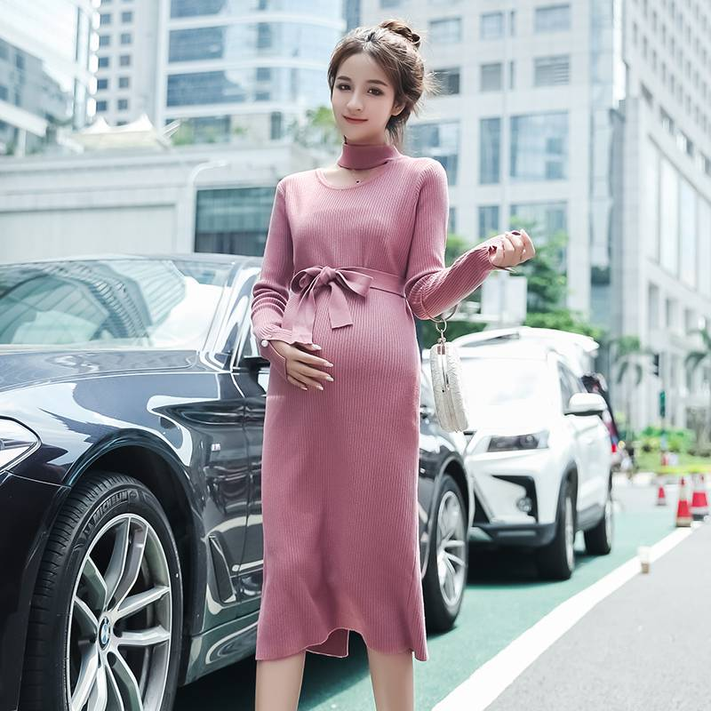 Autumn and winter long pregnant women dress new Korean version of the thin maternity dress knitted sweater maternity sweater autumn and winter maternity clothing plus size long sleeve sweater one piece dress pullover knitted