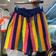 MAPUSITOM 2019 Summer Women Hot Short Fashion Loose Wide Leg Shorts Female High Elastic Waist Striped Casual