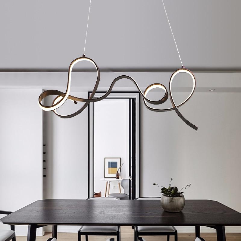 led chandelier Nordic restaurant chandelier modern minimalist creative aluminum chandelier bar bedroom living room led lights