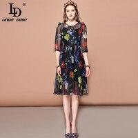 LD LINDA DELLA 2019 Fashion Runway Summer Dress Women's Half Sleeve Vintage Floral Print Beaidng Chiffon Elegant Dress