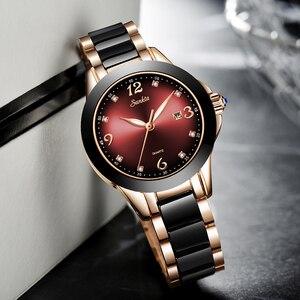 Image 3 - SUNKTA Montre de luxe pour femmes, Bracelet de luxe, en céramique et alliage, analogique, tendance, 2019