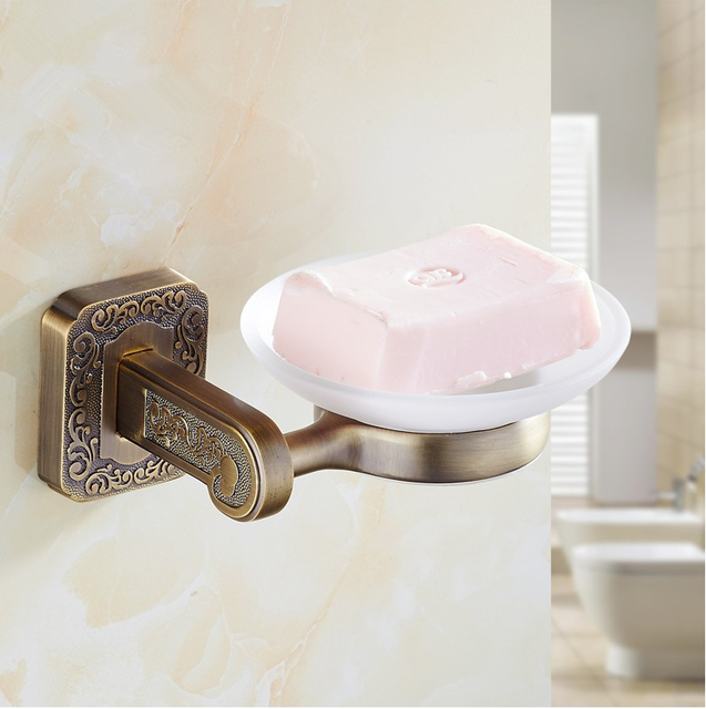 Fashion Bathroom Accessories Antique Br Finish Soap Basket Dish Shower Container