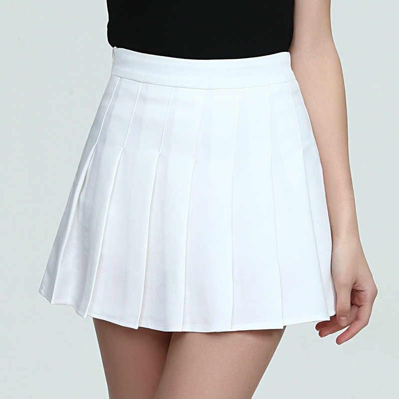 Wysokiej talii tenis spódnica plisowana Skort krótki School Dress z wewnętrznej spodenki Zip dla nastolatek zespół badmintona skutery tenis spódnice