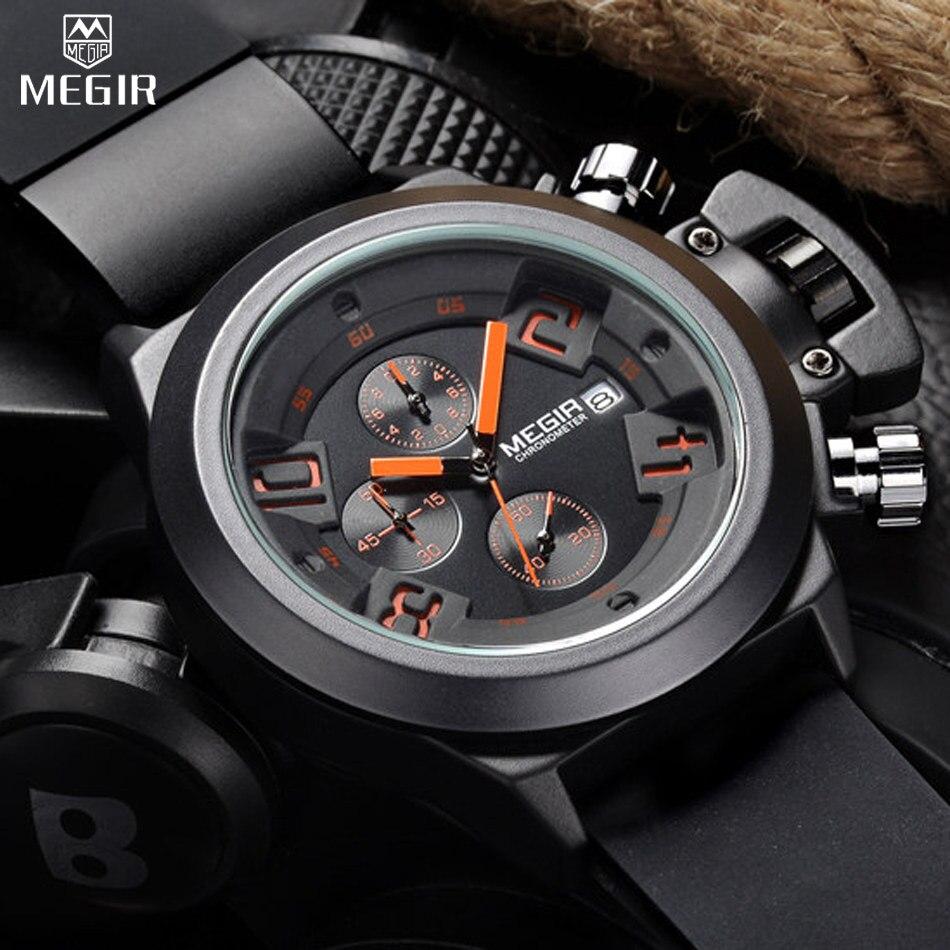 Megir марка мужские наручные часы многофункциональный мужской бизнес часы календарь хронограф топ кварцевые часы Relogio / ML2002