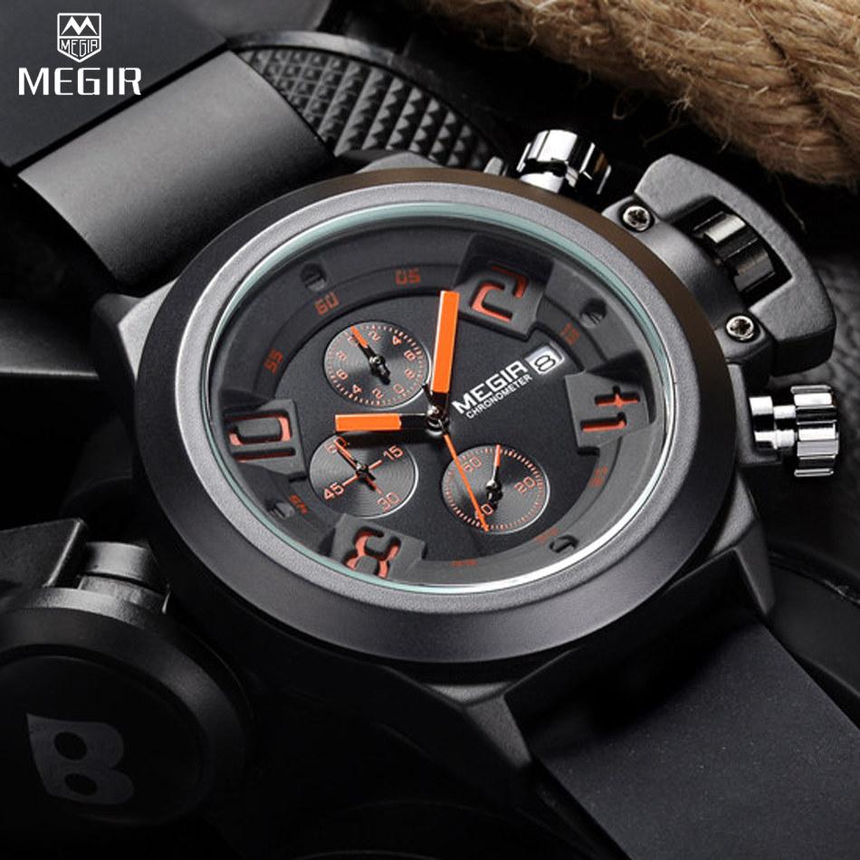 Prix pour MEGIR hommes Casual Quartz Montre 3D Gravé Cadran Noir Silicone montres hommes Étanche Militaire Sport Montre pour Homme MG2002